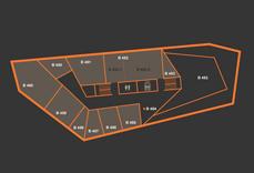 Gebäude Plan mit verschiedenen Räumen und Zuordnungszahlen