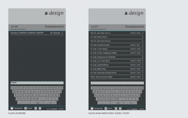 Screendesign Beispiel für eine Ärztetafel