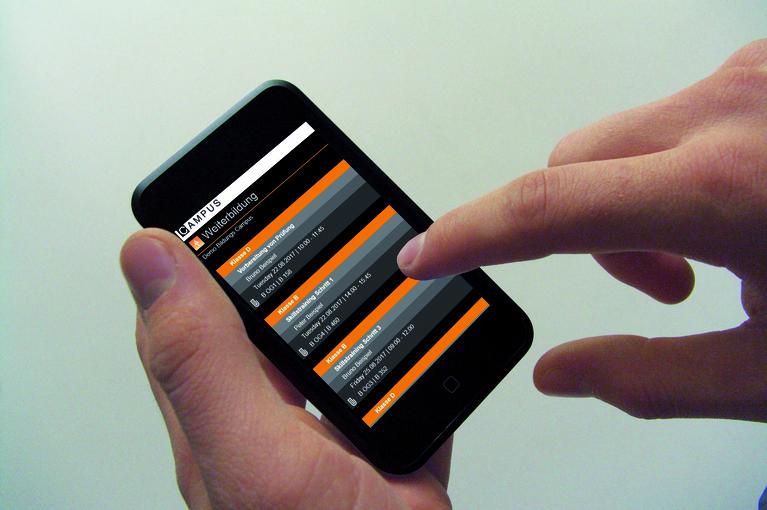 Beispielhafte Demo der Organizer Software auf einem Handy