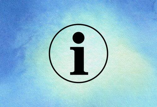 """Produktinformationen, blaues Bild mit Buchstabe """"i""""."""